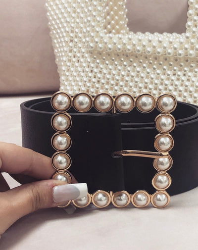 'MIA' Pearl / Pearl Buckle Belt in BLACK