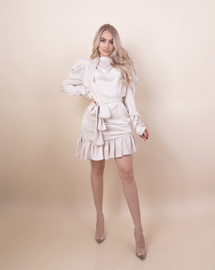 'LAYLA' Side Cut Detailed | Ruffled Detailed | Long Sleeve | Shoulder Detailed Midi Dress