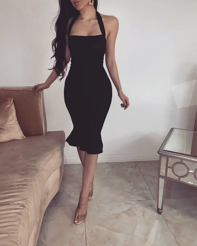 'RENIA' Bandage Bodycone Dress in Black