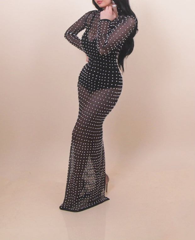 'PEARLS ON YOUR SKIN' Mesh Dress/Cover up