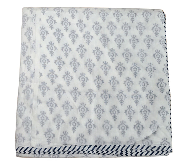 Navy Flower Cotton Blanket