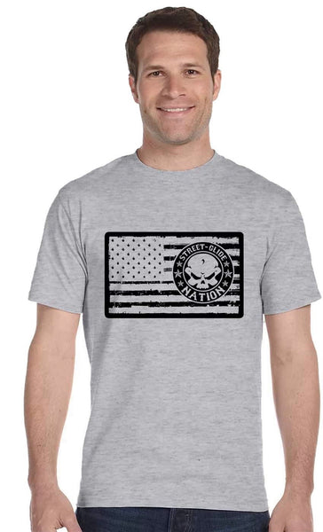 Street Glide Nation Men's Short Sleeve Tee (Flag on Chest)