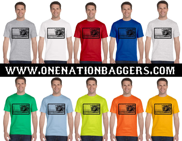 Road Glide Nation Men's Short Sleeve Tee (Flag on Chest)