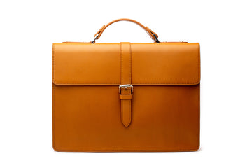 Leather Laptop Briefcase - Tan