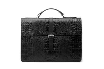 Leather Laptop Briefcase - Crocodile Pattern Black