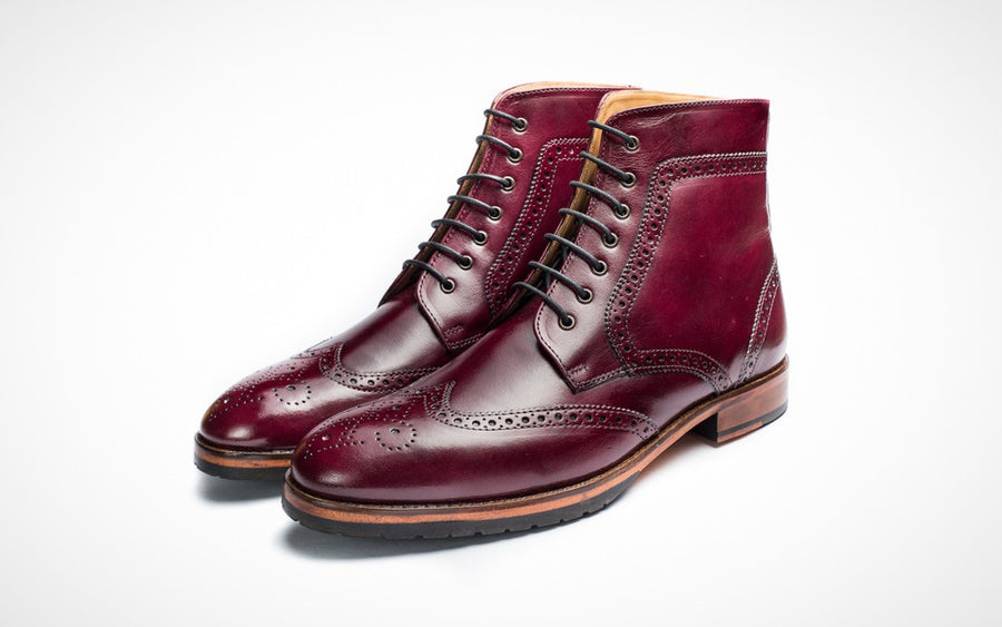 Wingtip Brogue Boot - Burgundy