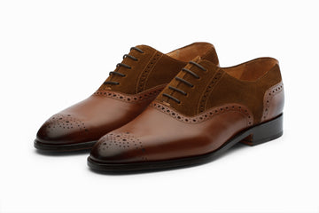 Suede Combination Oxford- Med Brown/ Cognac Suede ( US 7 & 12 Only )