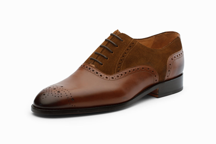 Suede Combination Oxford- Med Brown/ Cognac Suede