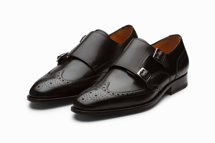 Wingtip Brogue Double Monkstrap - Black