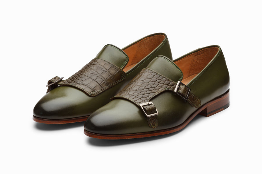 Crocodile Print Monkstrap Loafer - Olive