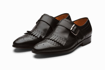 Medallion Toe Kiltie Monks - Black