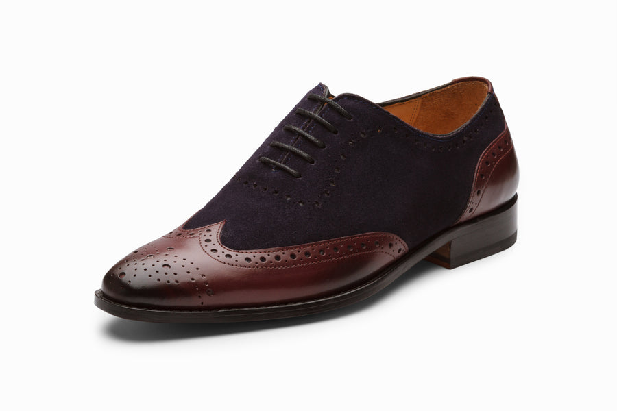 Wingtip Oxford - Burgundy/Navy Suede