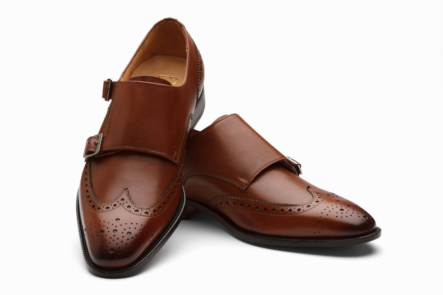 Wingtip Brogue Double Monkstrap- Dark Cognac