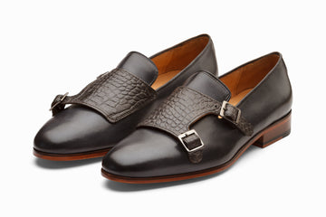 Crocodile Print Monkstrap Loafer - Grey ( US 7 & 8 Only )