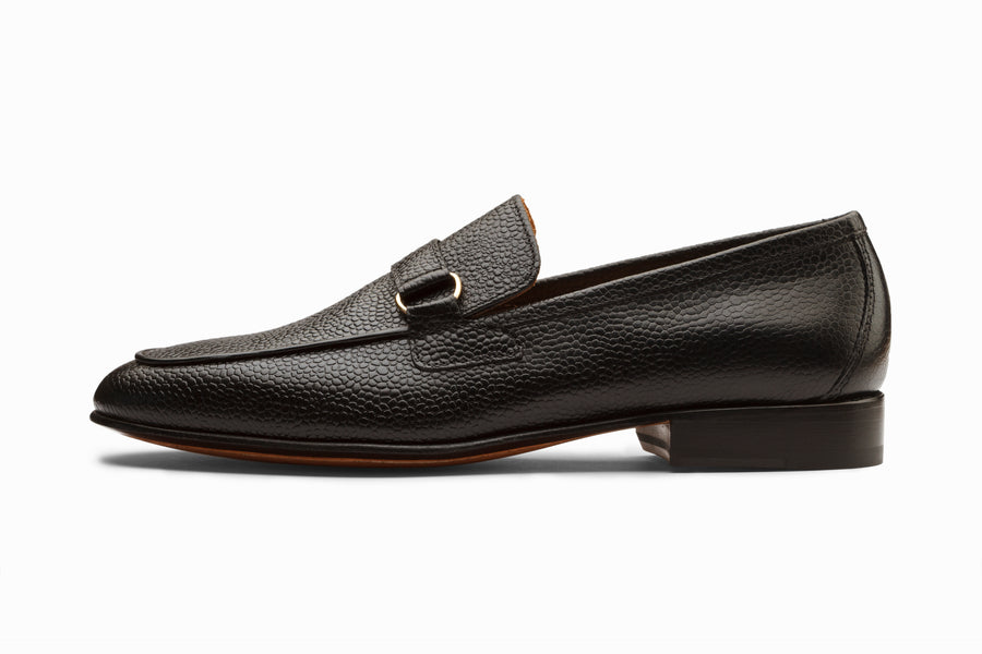 Lorenzo Leather Loafers- Black Grain