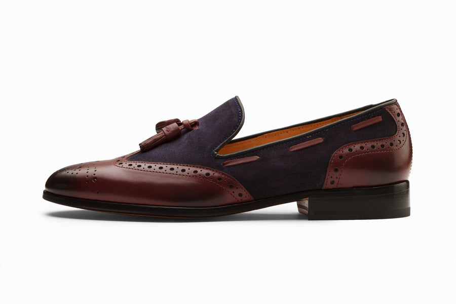 Wingtip Brogue Tassel Loafers - Burgundy
