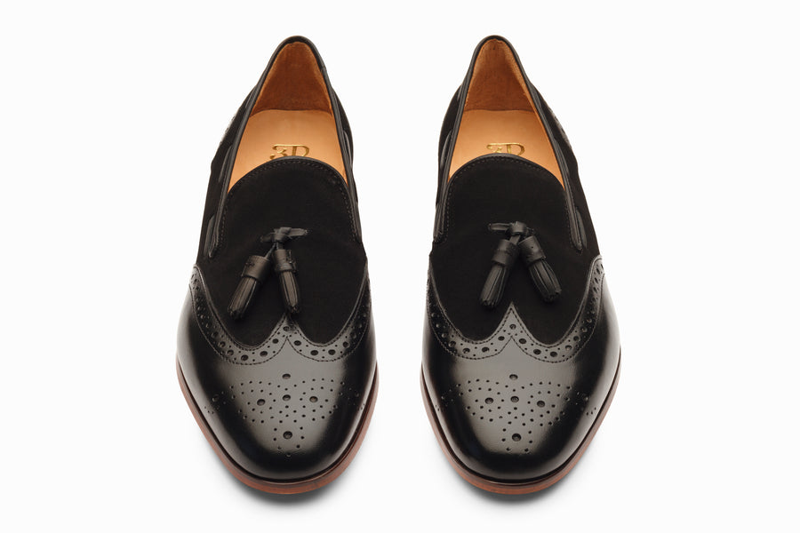 Wingtip Brogue Tassel Loafers - Black