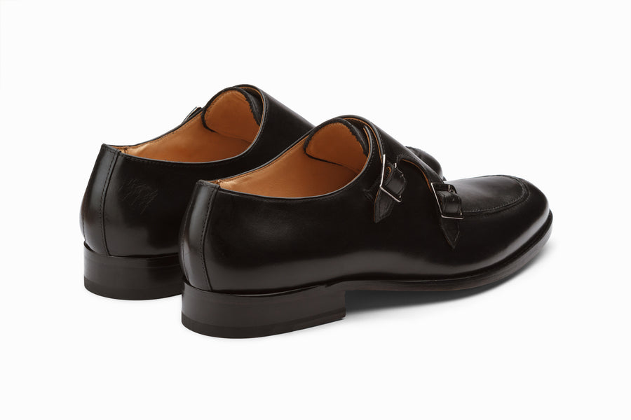 Split Toe Double Monks - Black