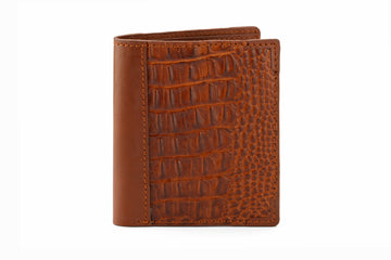 Hip Fold Leather Wallet - Crocodile Brown