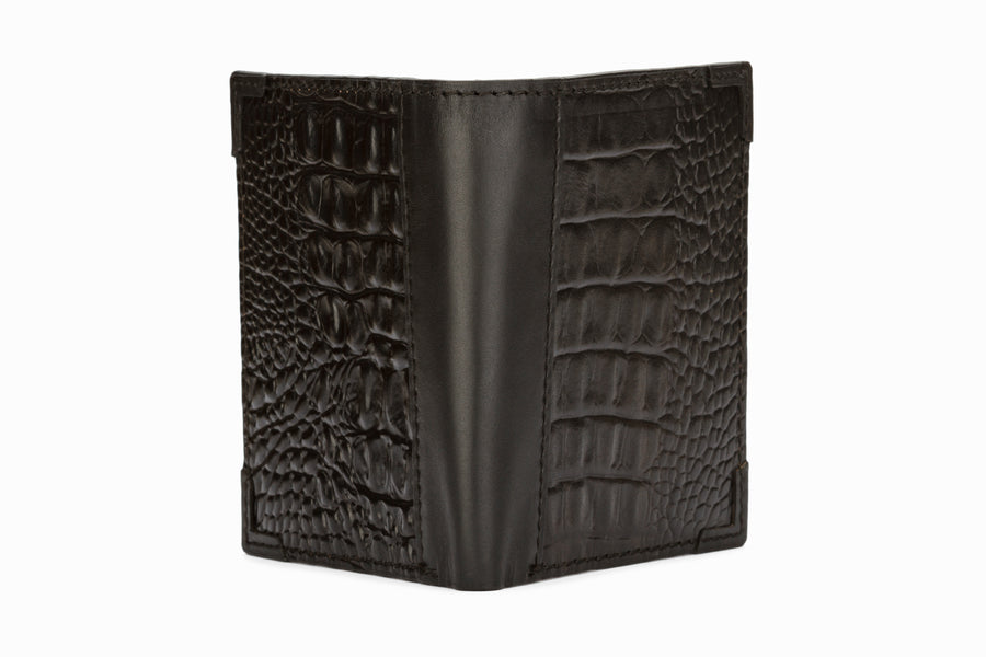 Hip Fold Leather Wallet - Crocodile Black
