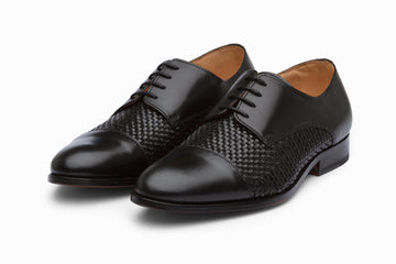 Captoe Woven Leather Derby - Black