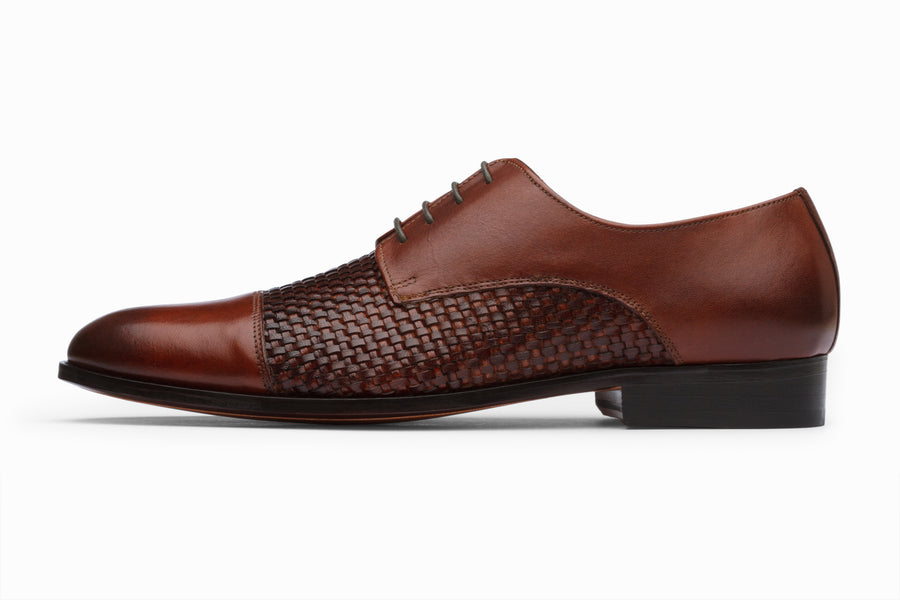 Captoe Woven Leather Derby - Sequoia