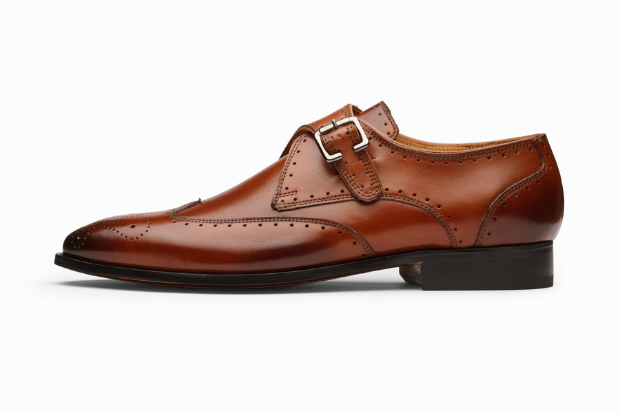 Brogue Monkstrap- Cognac