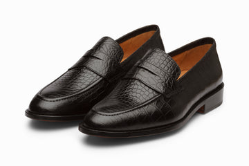 Penny Loafer- Crocodile Black