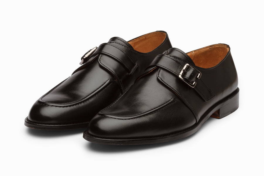 Cord Stitch Single Monkstrap - Black