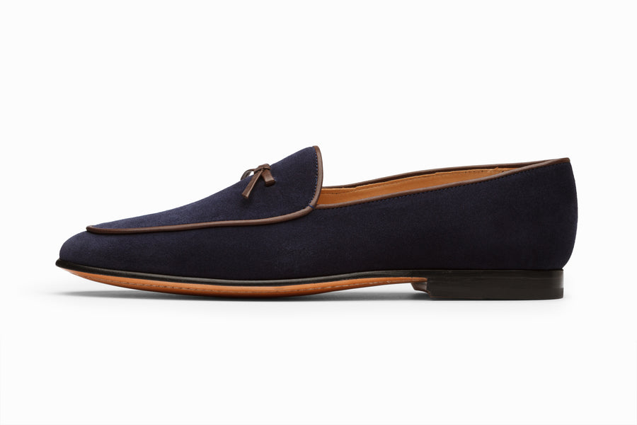 Belgian Loafers - Navy Suede