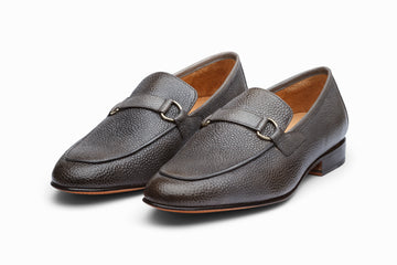 Lorenzo Leather Loafers- Grey Grain