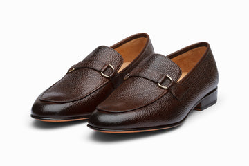Lorenzo Leather Loafers- Dark Brown Grain