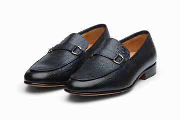 Lorenzo Leather Loafers- Navy Grain