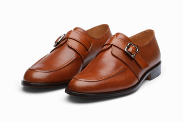 Cord Stitch Single Monkstrap - Cognac