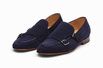 Double Monkstrap Belgian Loafer - Navy Suede