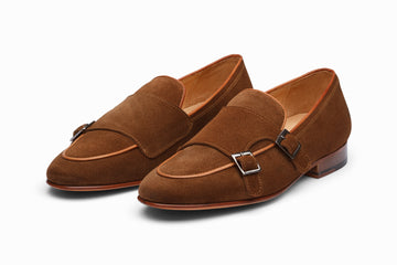 Double Monkstrap Belgian Loafer - Cognac Suede