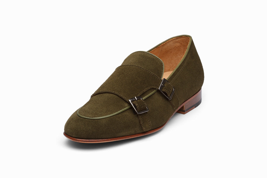 Double Monkstrap Belgian Loafer - Olive Suede