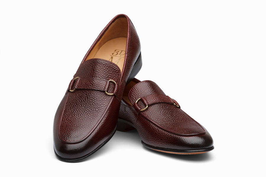 Lorenzo Leather Loafers- Burgundy Grain