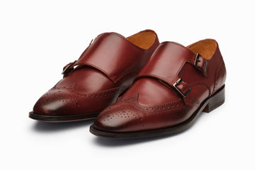 Wingtip Brogue Double Monkstrap- Burgundy