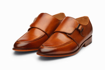 Plain Toe Single Monkstrap - Tan