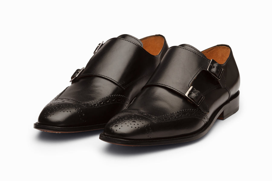 Medallion Toe Double Monkstrap - Black