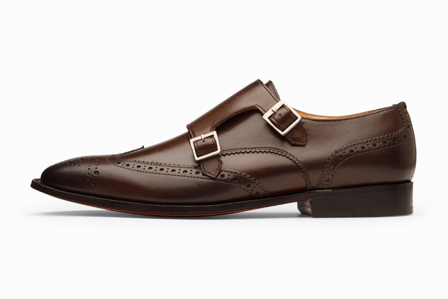 Wingtip Brogue Double Monkstrap- Dark Brown
