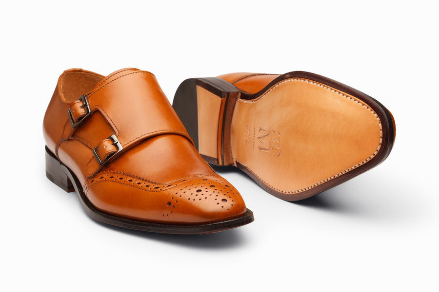 Medallion Toe Double Monkstrap- Tan