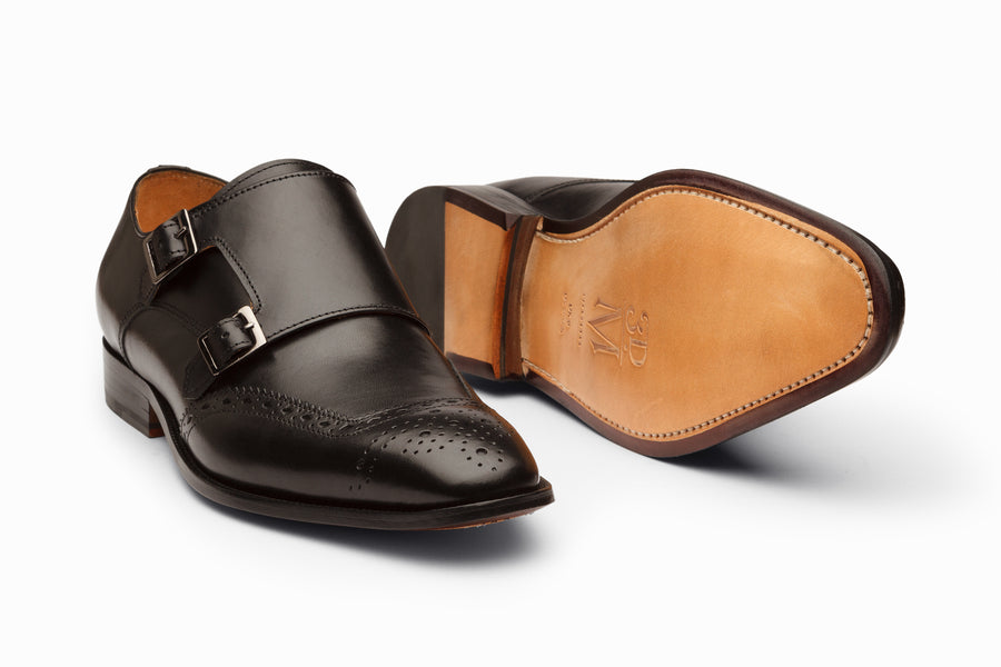 Medallion Toe Double Monkstrap- Black