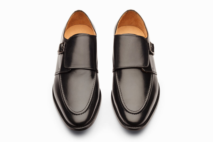 Plain Toe Single Monkstrap - Black
