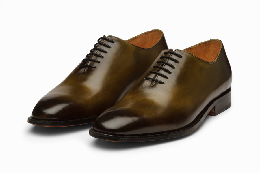 Wholecut Oxford - Olive and Black Patina Finish
