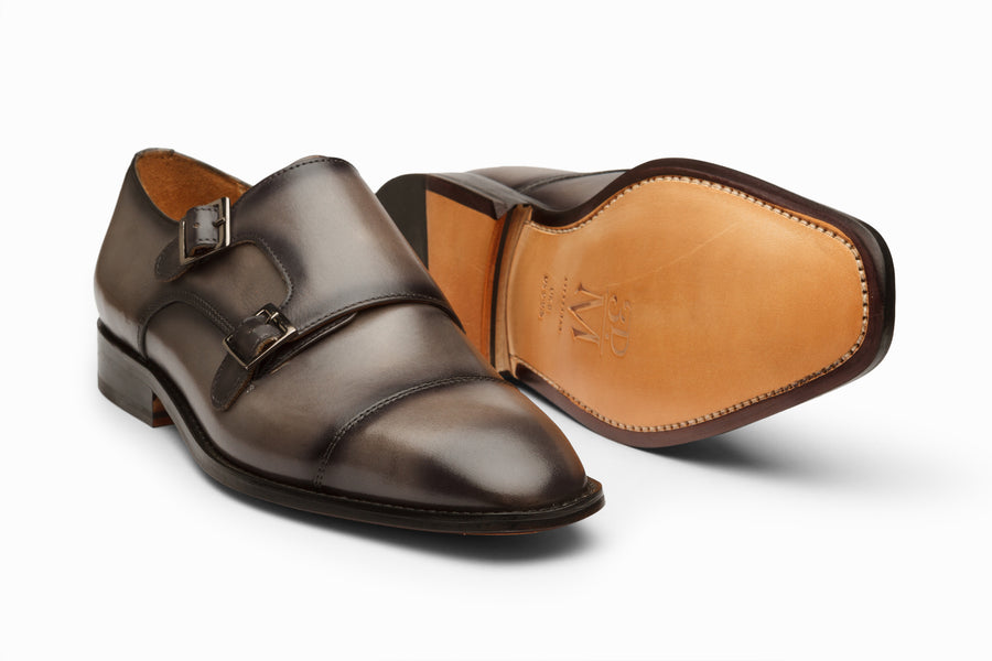 Double Monkstrap - Grey & Black Patina Finish