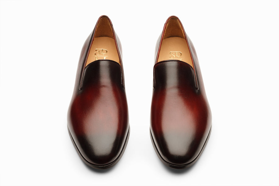 Venetian Loafers - Oxblood and Black Patina Finish