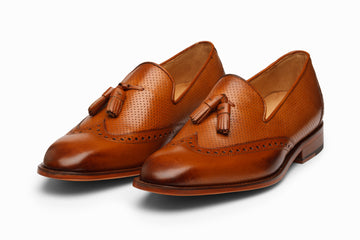 Wingtip Tassel Loafers- TAN