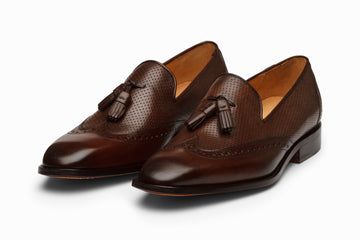Wingtip Tassel Loafers- DARKBROWN